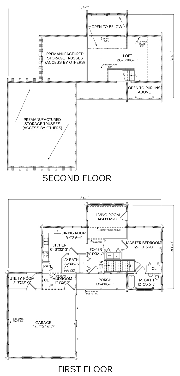 Barren log home floorplan