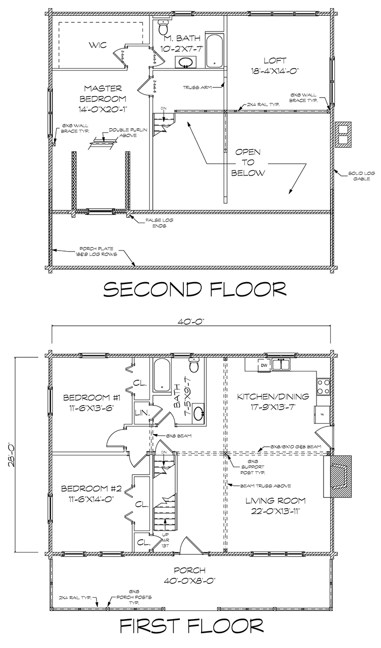 Deerview log home floorplan