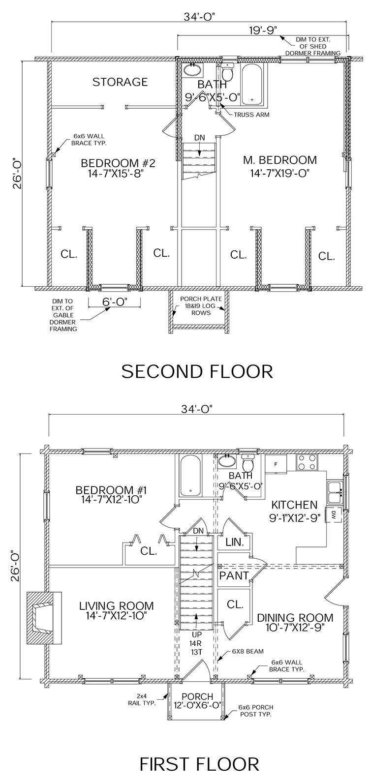 Dreamer log home floorplan