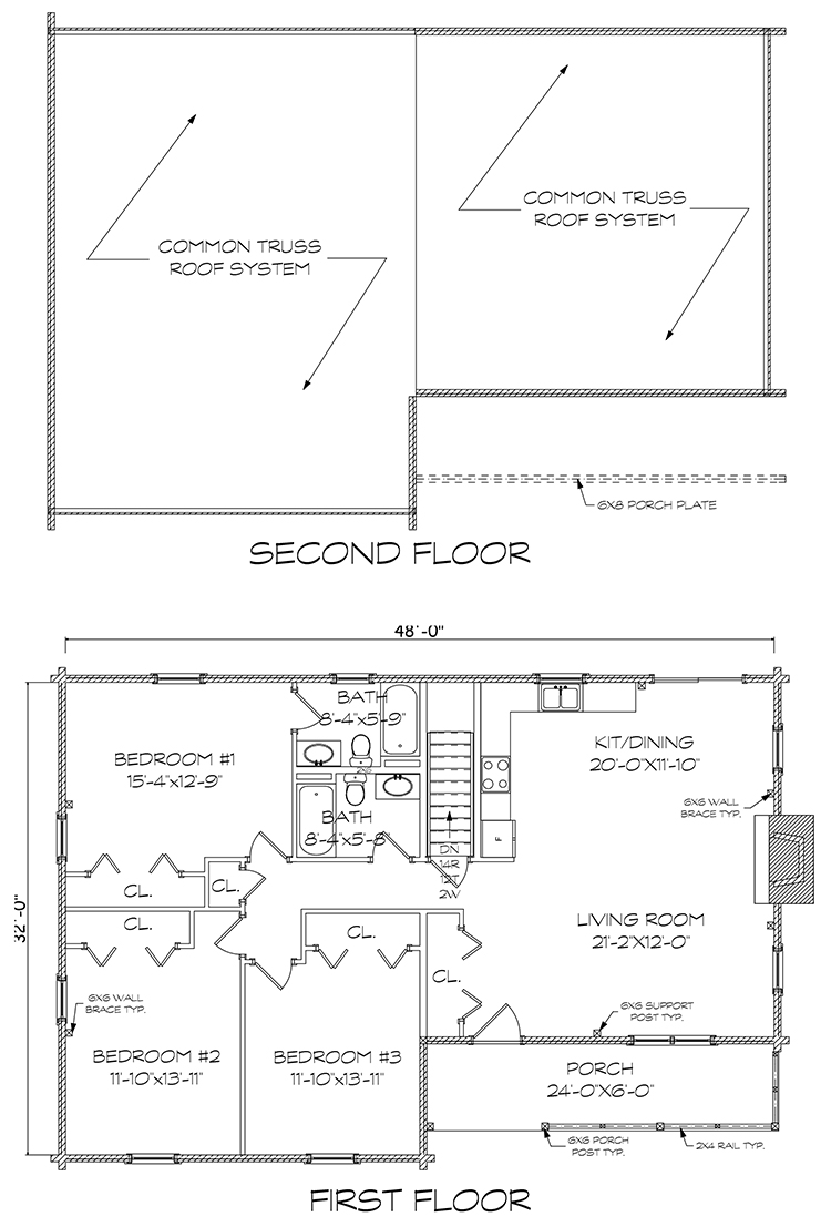 Greenwood log home floorplan