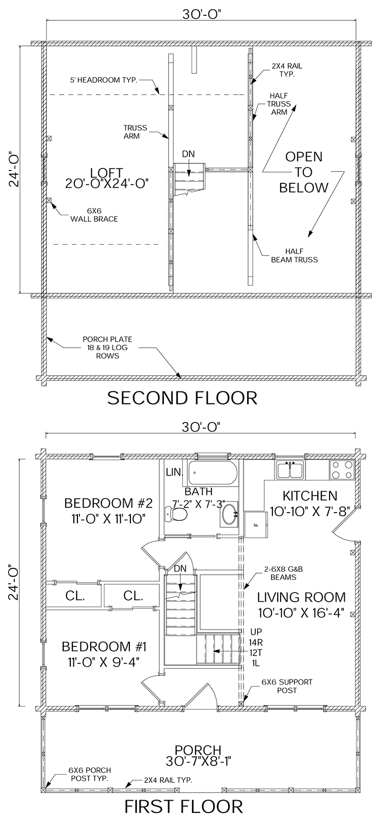 Haven log home floorplan