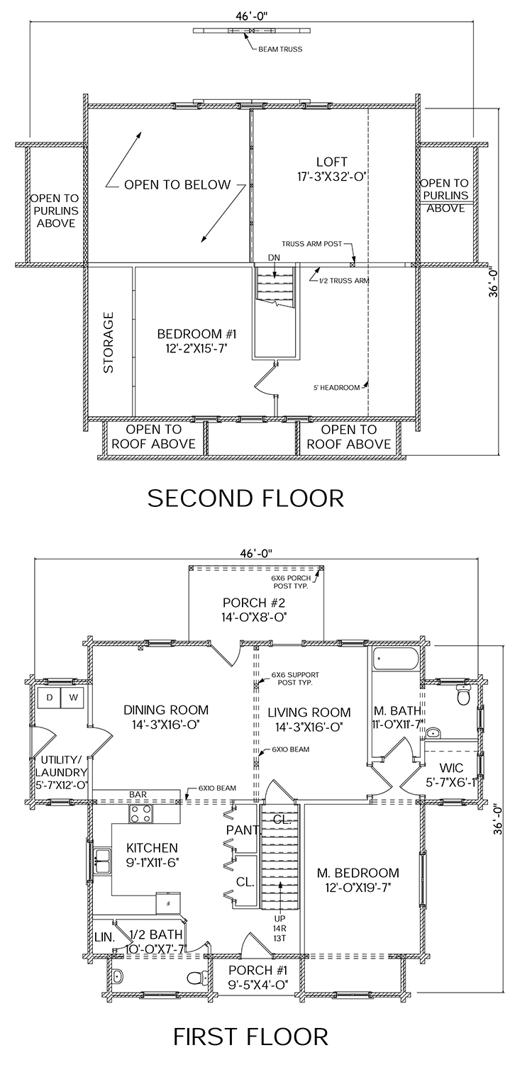 Hebron log home floorplan
