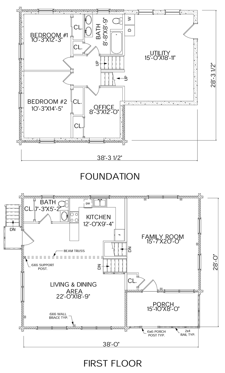 Homecoming log home floorplan