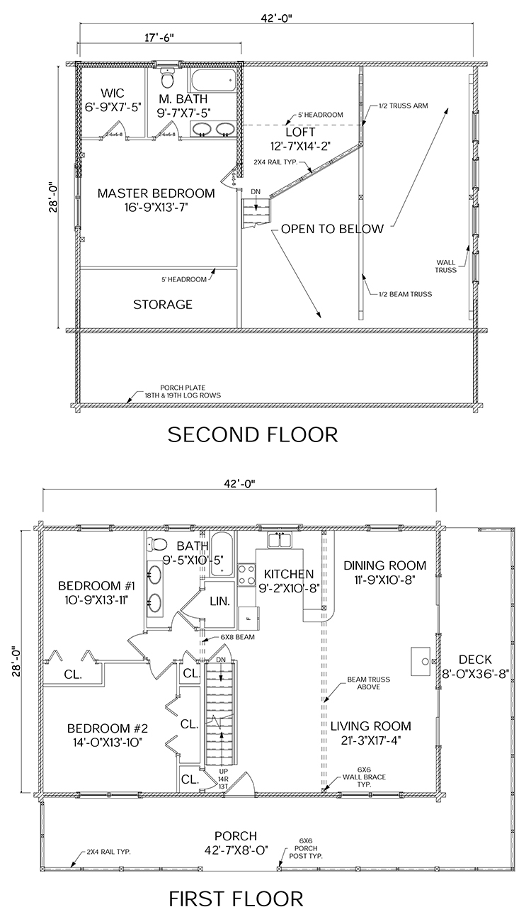 Madison log home floorplan