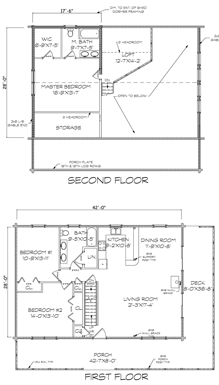 Monson log home floorplan