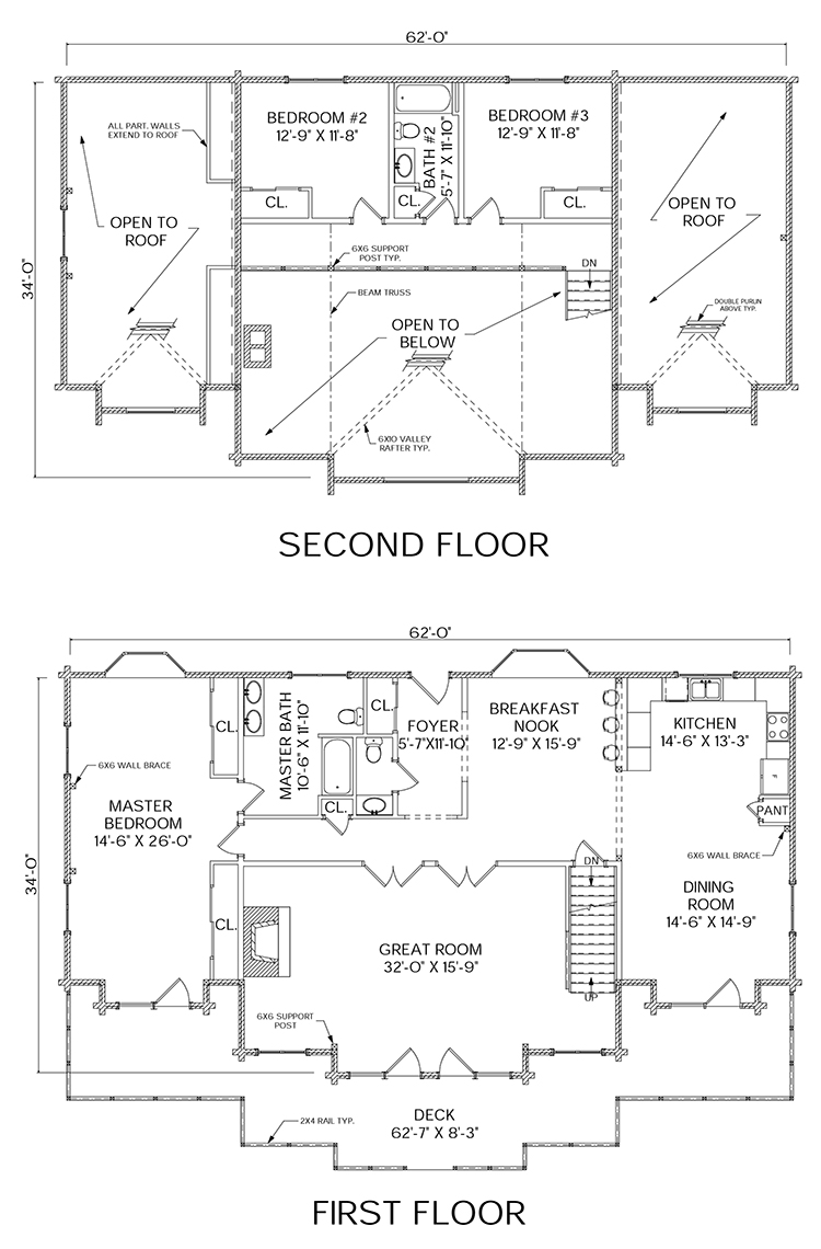 Moosehead log home floorplan