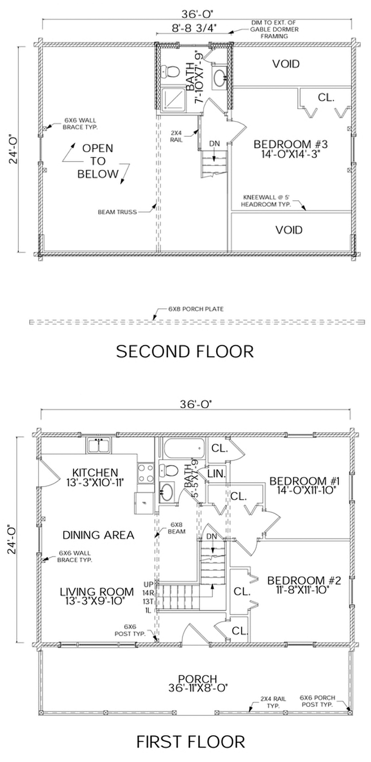 Rangeley log home floorplan