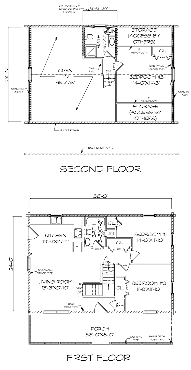 Telos log home floorplan