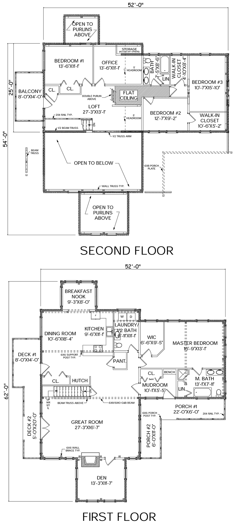 White Cap log home floor plan