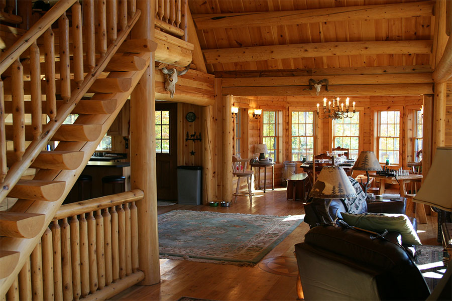 Tahoe interior in a NH Log Cabin Home
