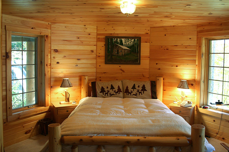 Tahoe bedroom in a NH Log Cabin Home