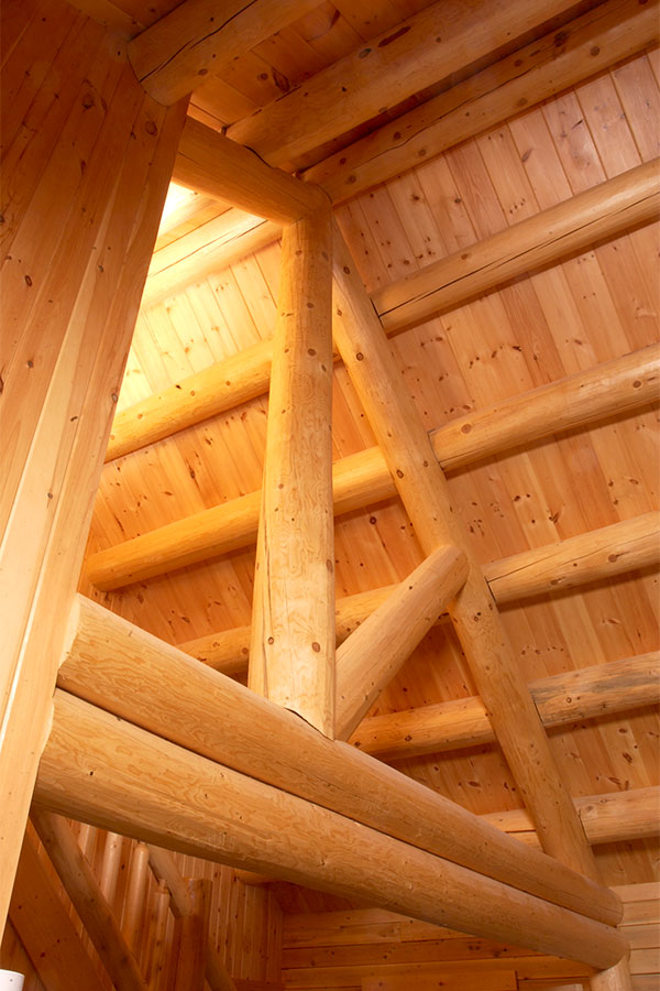 Interior Cedar ceiling beams in a NH Log Cabin Home