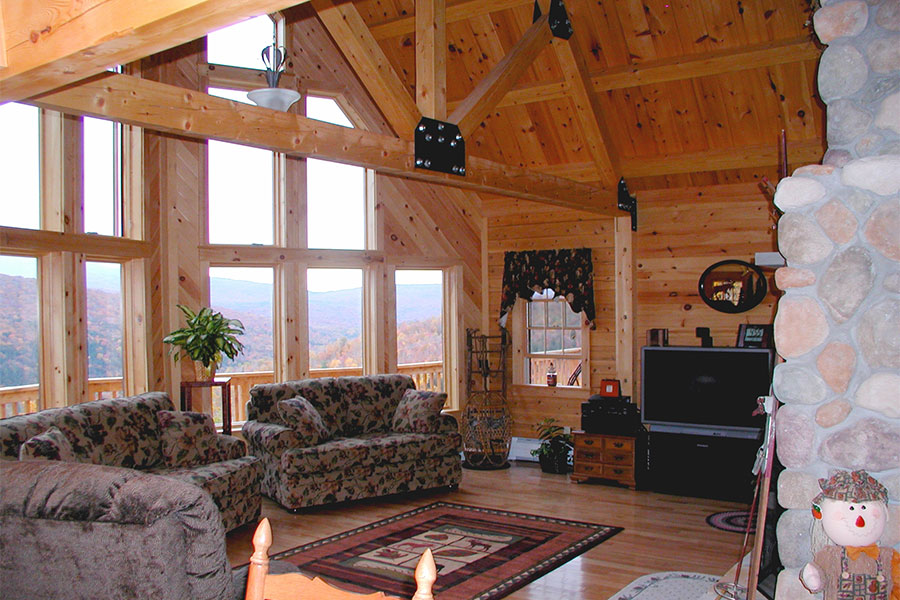 Tahoe great room in a NH Log Cabin Home