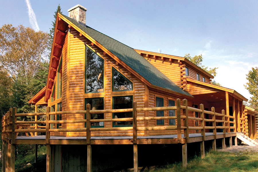NH Log Cabin Home exterior