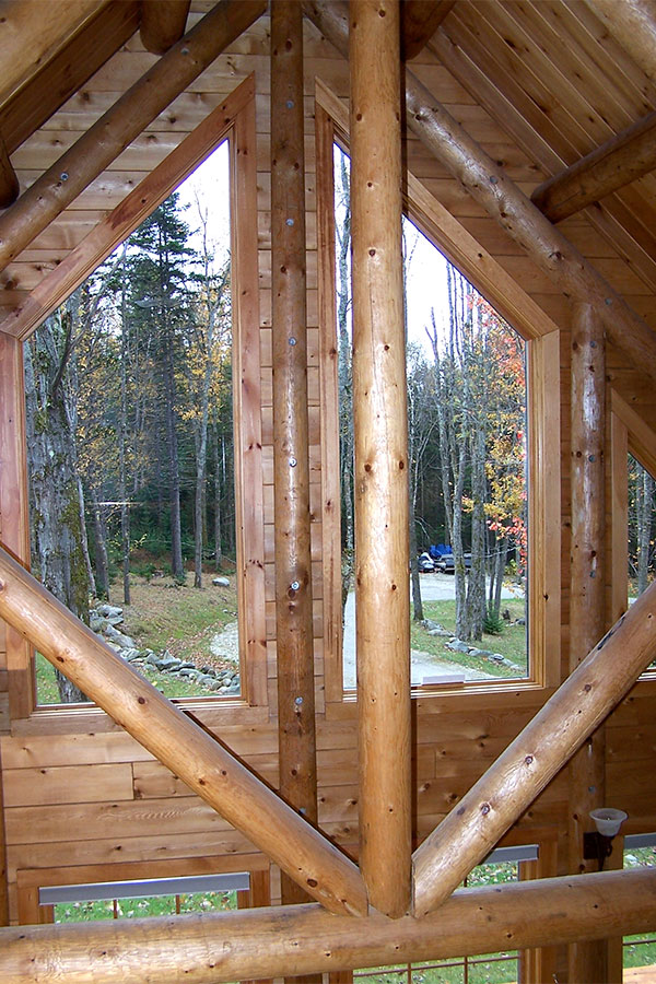 View from inside log home