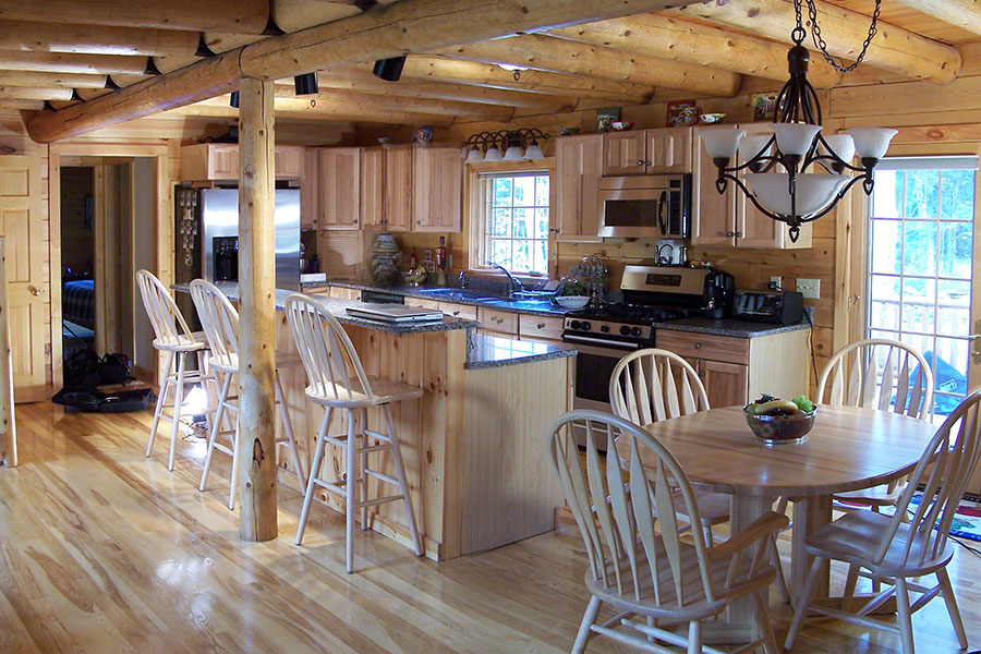 Kitchen in a NH Log Cabin Home