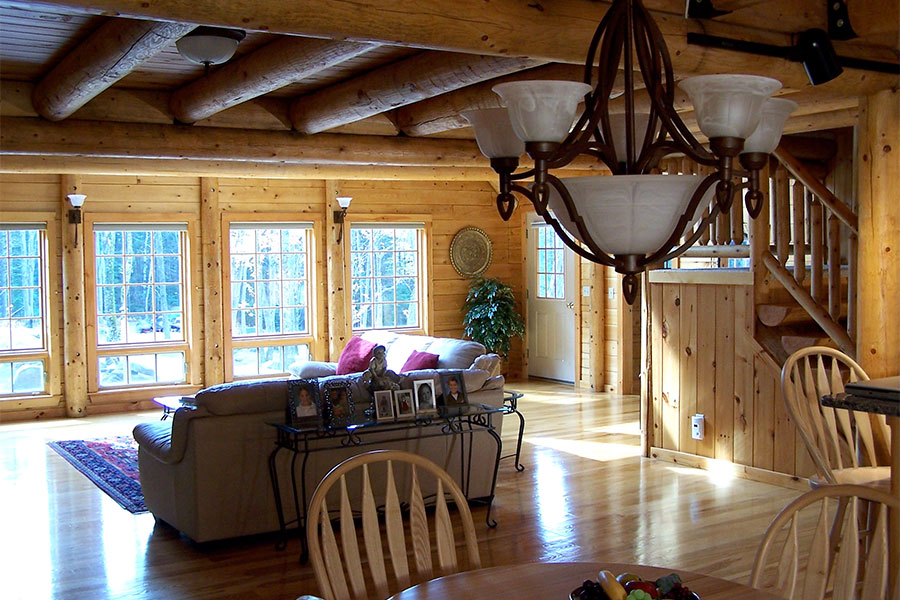 Living area in a NH Log Cabin Home