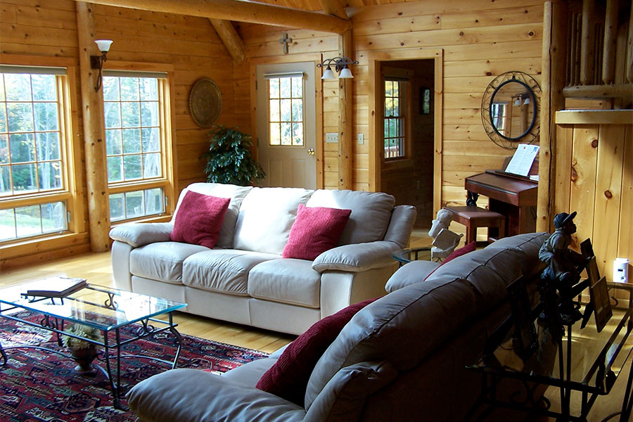 Great room in a NH Log Cabin Home