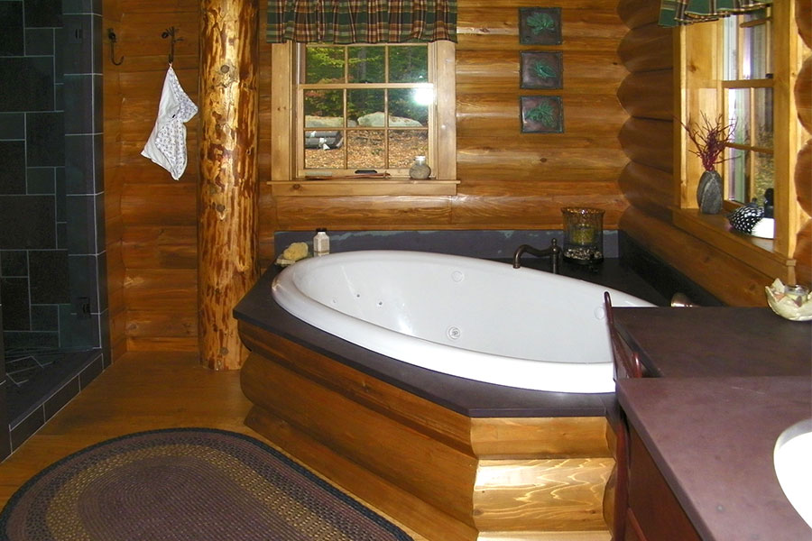 Bathroom in a NH Log Cabin Home
