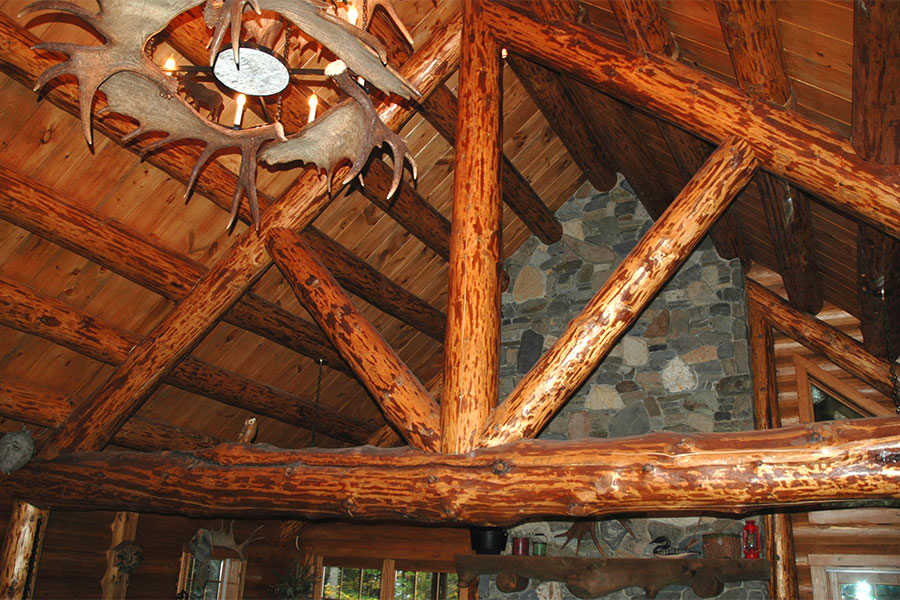 Log home interior beams
