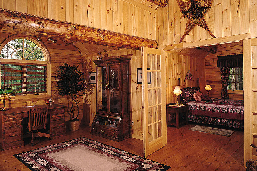Interior in a NH Log Cabin Home