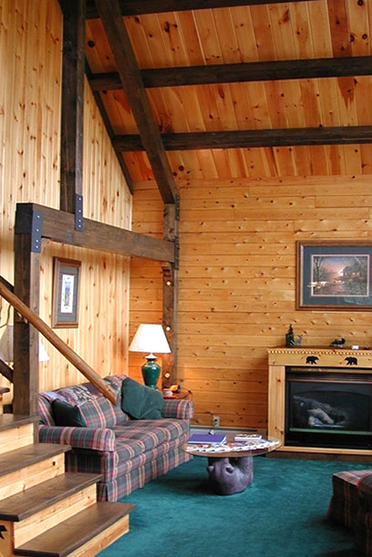Log home great room and stairs