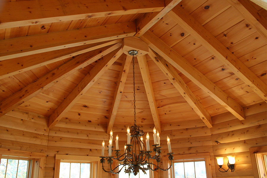 Decorative ceiling in a NH Log Cabin Home