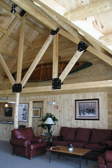 Living room in a NH Log Cabin Home