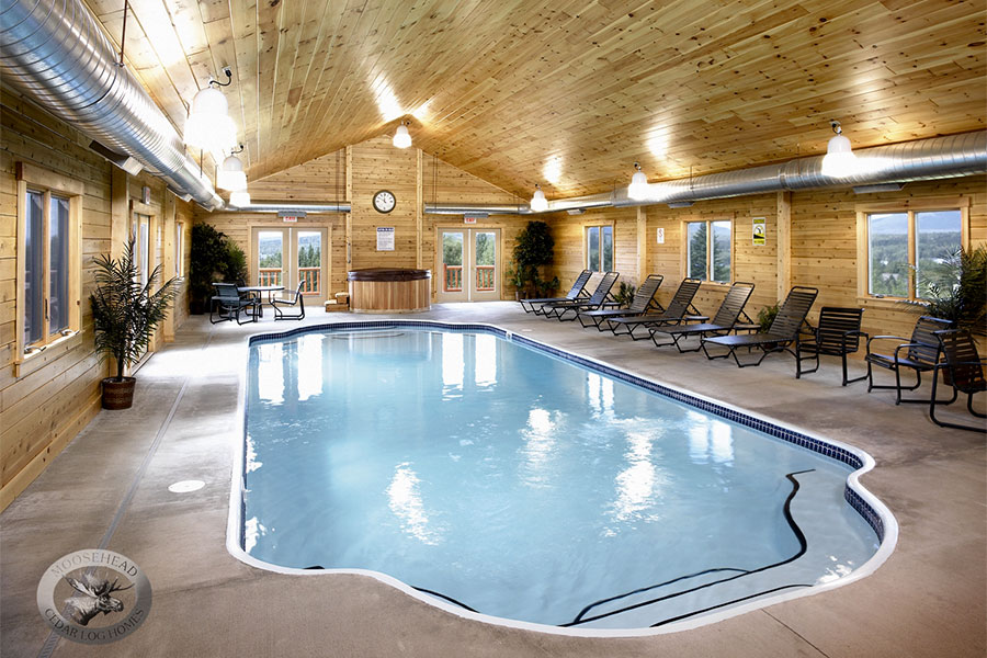 Indoor pool in a NH Log Cabin Home