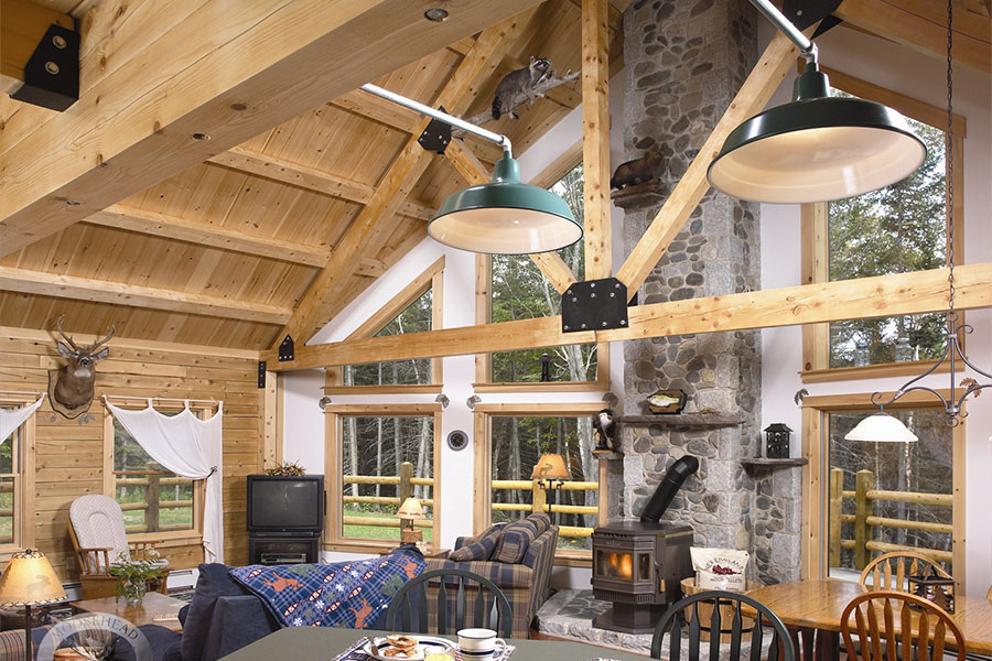 Dining room and living room in a NH Log Cabin Home